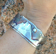 Mountain Cuff Bracelet Sterling