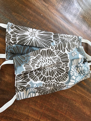 *Youth 2 for $15* Blue Floral, Pleated Masks