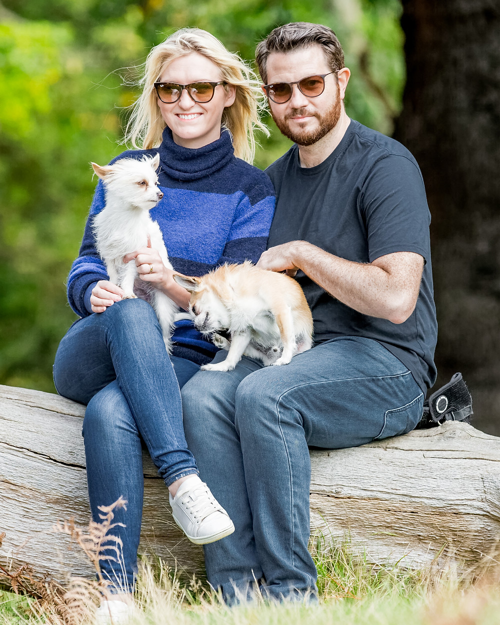 Dog photography in London. Louis and Martha with David and Lynsey in Richmond Park
