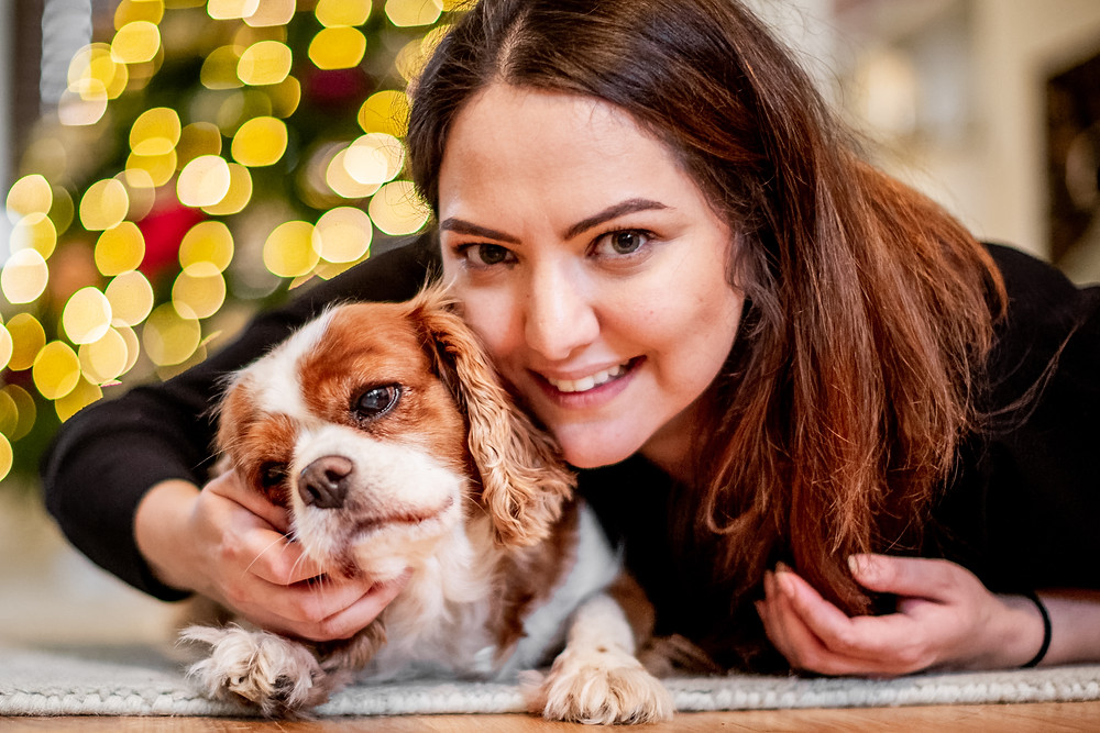 Dog Photography in London, Tiffany the King Charles Spaniel with her owner at home