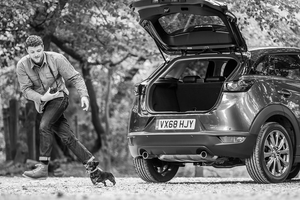 Dog photography in London.  Bun the Sausage Dog on Coombe Hill, Chiltern for Mazda CX-5. #dogsinboots