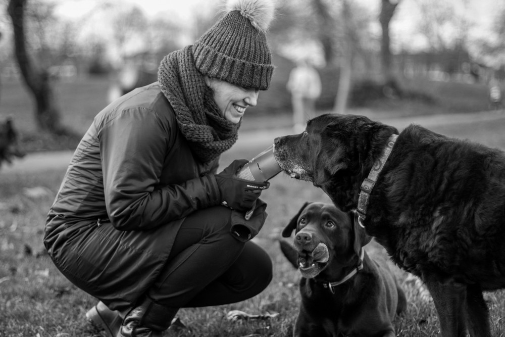 Dog Photography in London.  Talisker and Oban with their owner on Clapham Common.