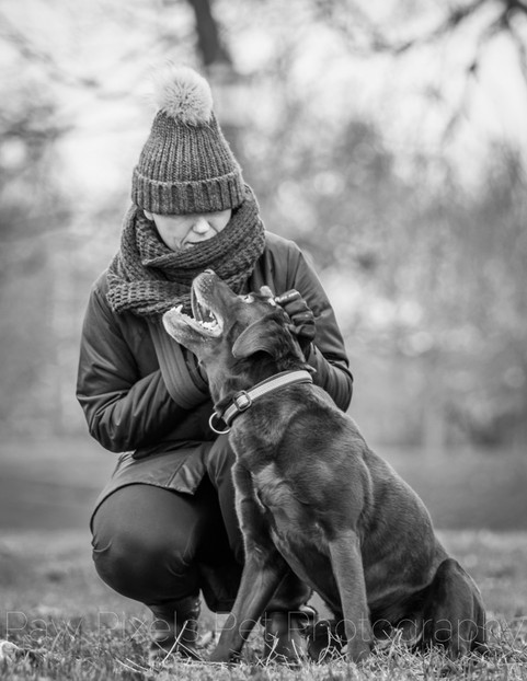 Labrador and his owner sitting on the grass in Clapham common in London.  London Dog Photography.  Dog photography by Ian McGlasham
