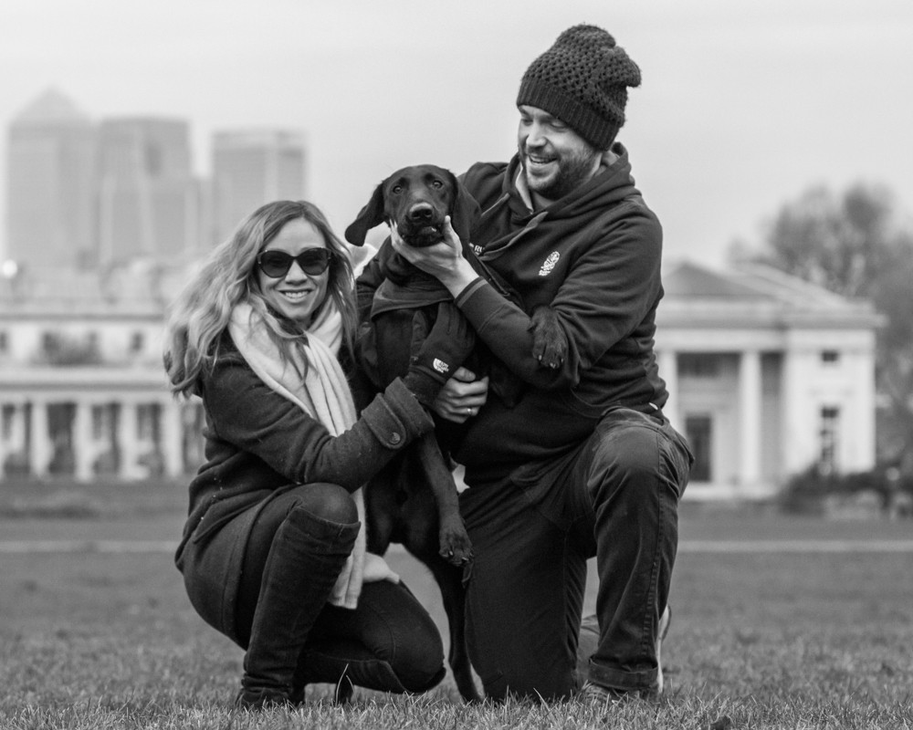 Dog Photography in London.  Bugsy with his owners in London