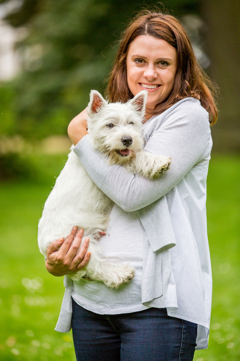 Dog photography in London. West Highland Terrier - Hector with his owners