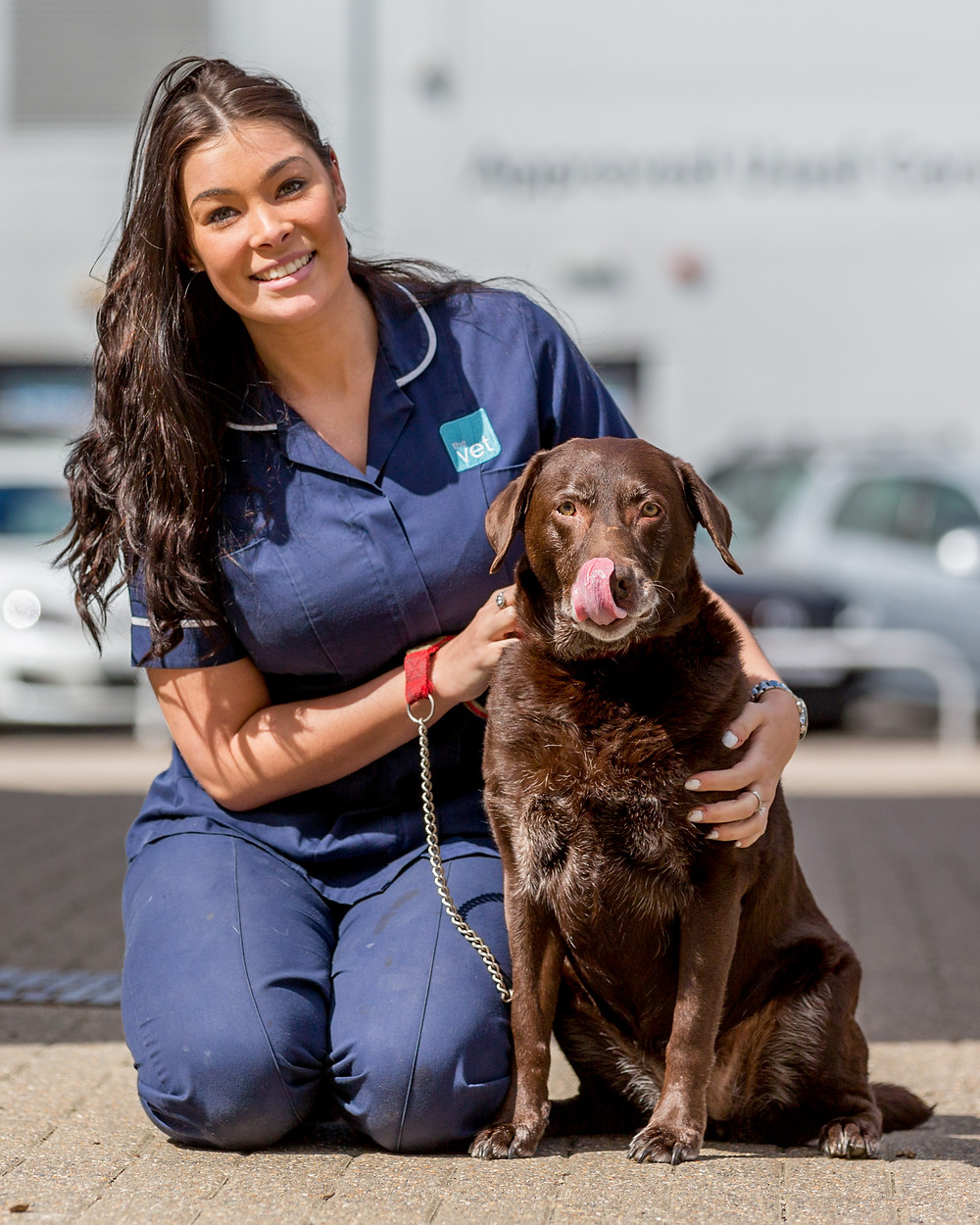 Pet photography in London. Ashleigh and Pudsey at The Vet