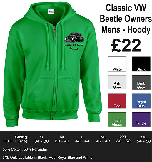 Classic VW Beetle Owners - Club Hoody - Mens