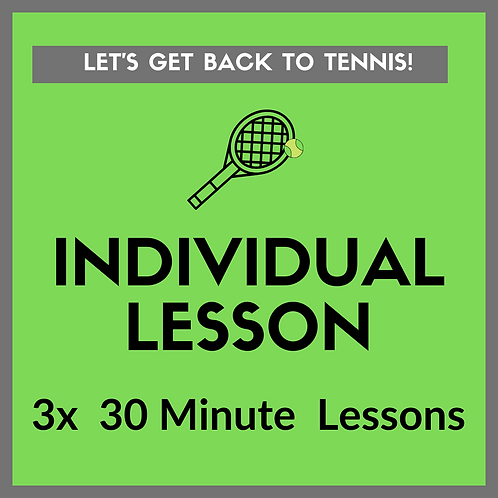 3x Individual Tennis Lessons (30 minutes)