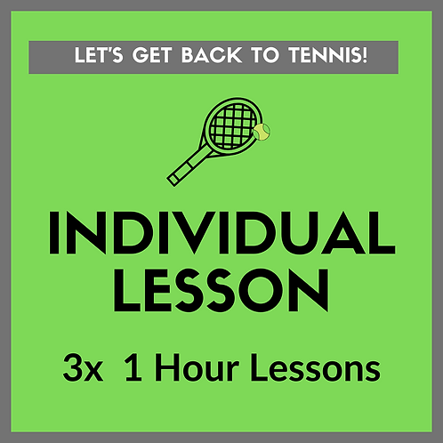 3x Individual Tennis Lessons (1 hour)