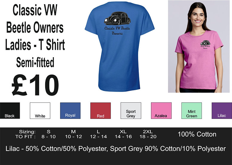 Classic VW Beetle Owners - T Shirt - Ladies
