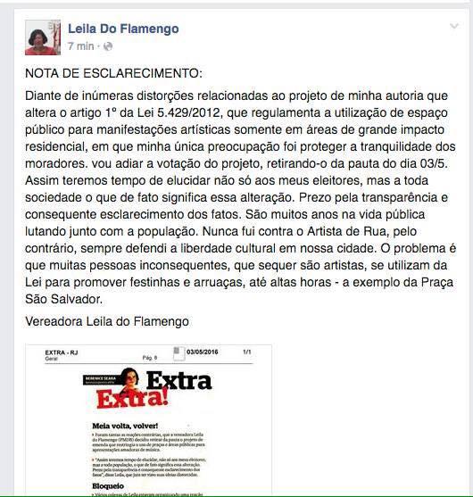 Comunicado de adiamento da votação, publicada hoje no perfil da vereadora Leila do Flamengo