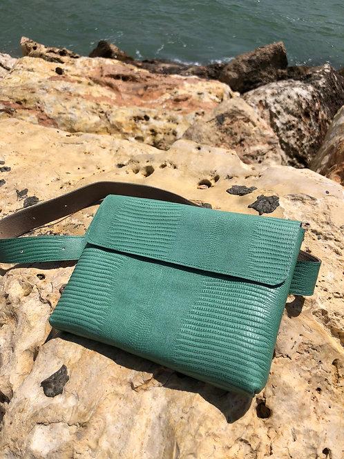 bright green lezard bag