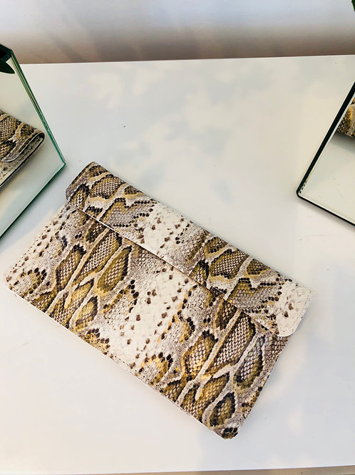 Snake wallet cream and gold