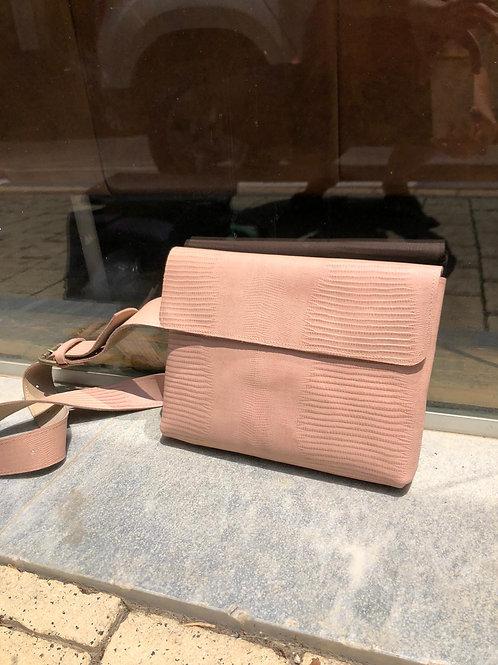 light pink lezard bag