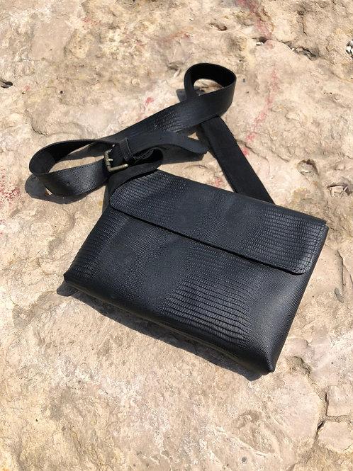 black lezard bag