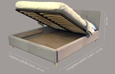 Detaliu ladă somieră rabatabilă pat Caprice