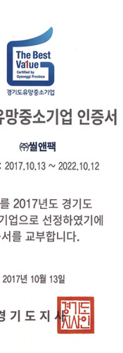 Gyeonggi Promising Small and Medium Business Certificate