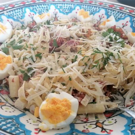 Pasta met asperges, pancetta en mascarpone