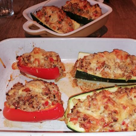 Gevulde courgettes met gehakt en quinoa