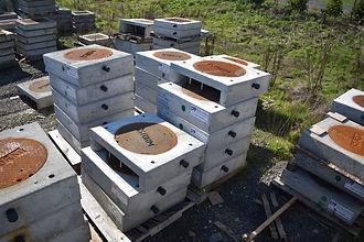 RimRiser shimless precast concrete curb inlet catch basin inventory