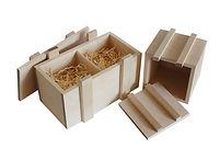 Деревянный реечный ящик для двух новогодних шаров