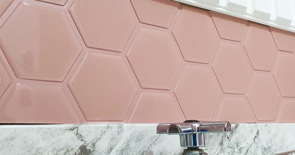 pastilha adesiva resinada - hexagonal cobre vecchio