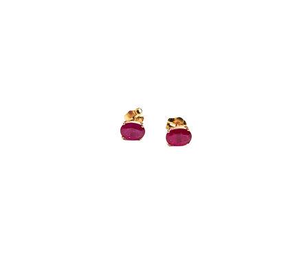 Pendientes Oro Rosa y Rubíes