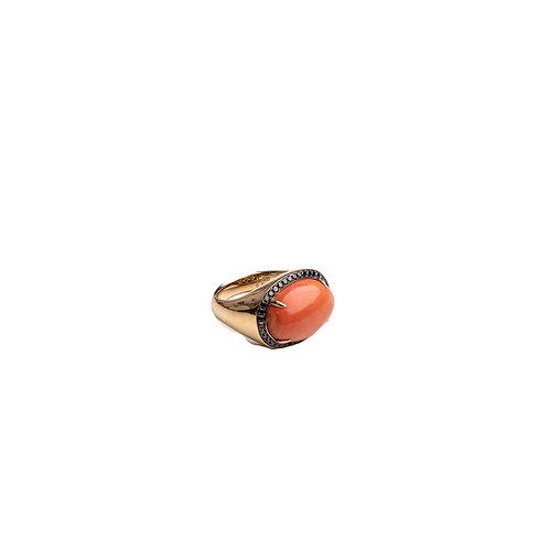 Anillo Oro Rosa , Diamantes Negros y Coral