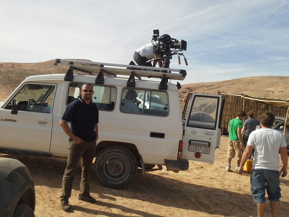 Kamal from Marrakesh Keys Travel with film crew Richard Ayoade and Stephen Magna