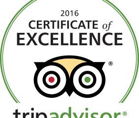 2016 Winner - Trip Advisor Certificate of Excellence