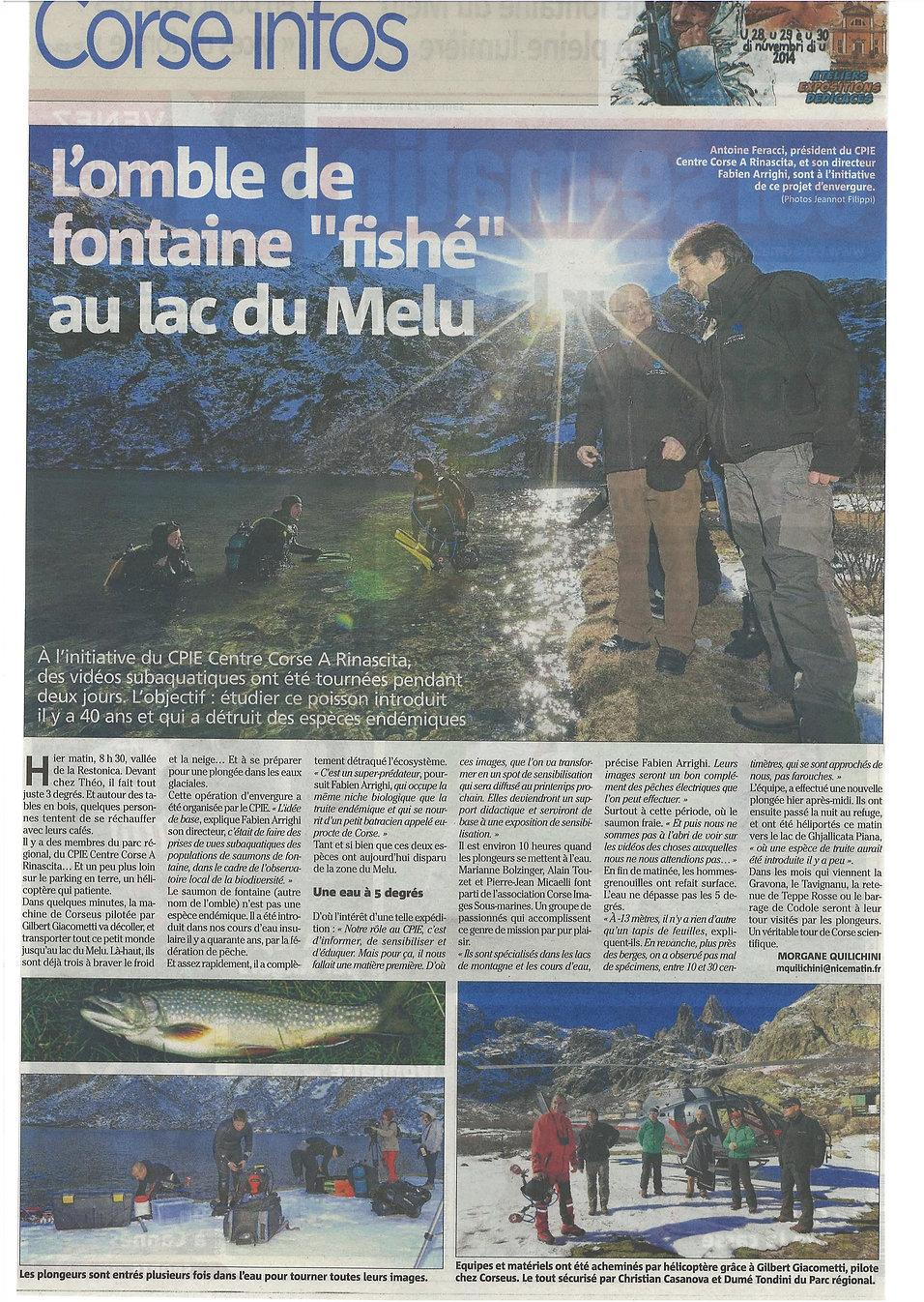 Corse plongée dans le lac du Melo