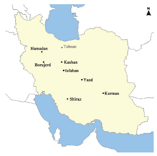 Iranian Jewish language map from Borjian