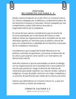 Postura de Conecta Cultura S. C. frente al recorte de Secretaría de Cultura de México