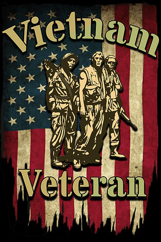 flag and vietnam veteran 3 soldiers fron