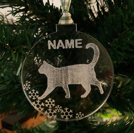 Etched clear acrylic personalised cat bauble