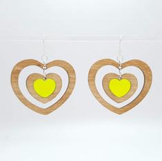 Acrylica and birch wood heart earrings