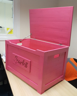 Personalised pink toy box
