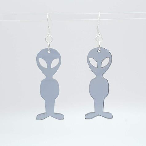 Grey acrylic Alien Earrings