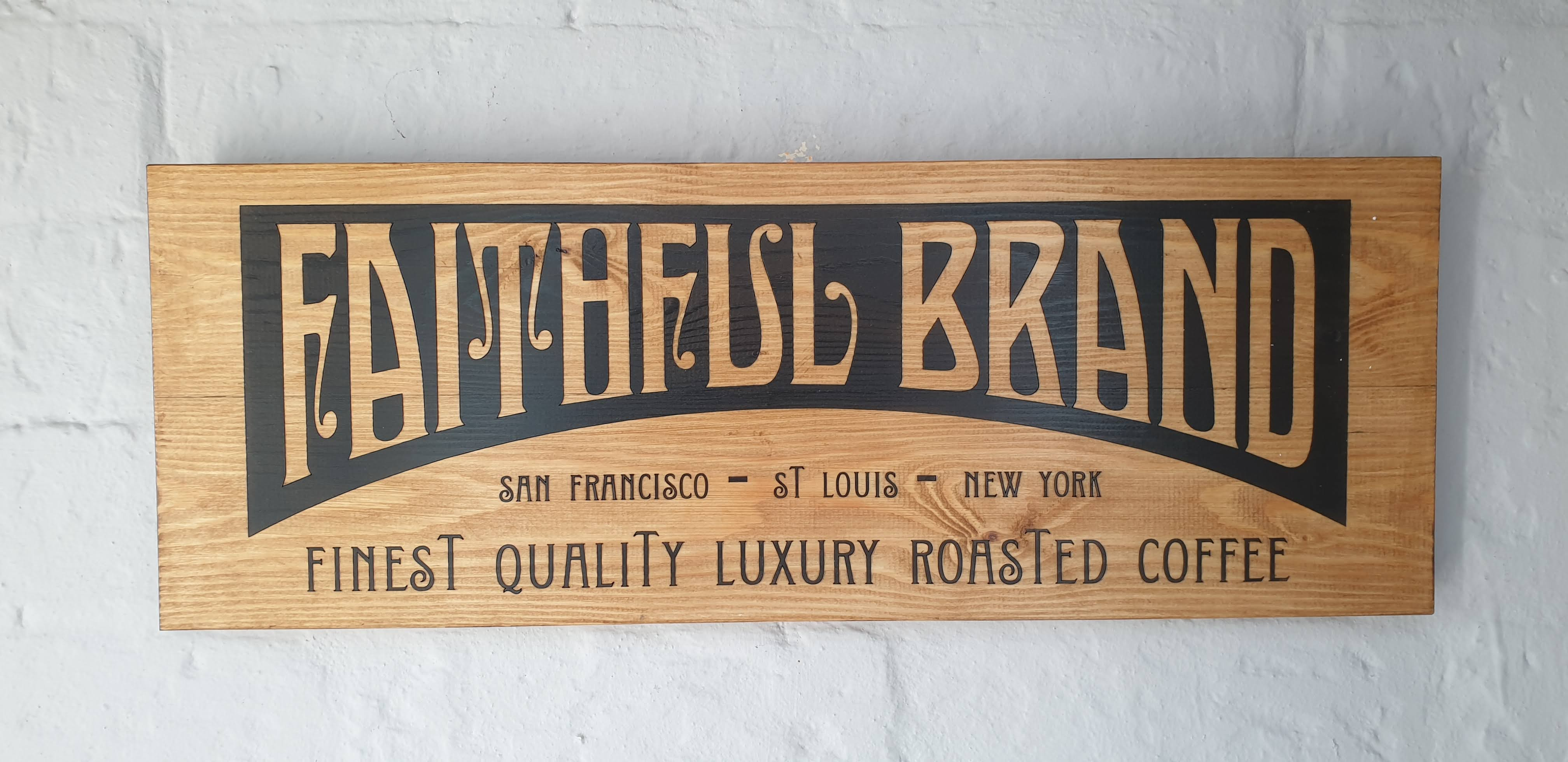 Vintage coffee crate sign