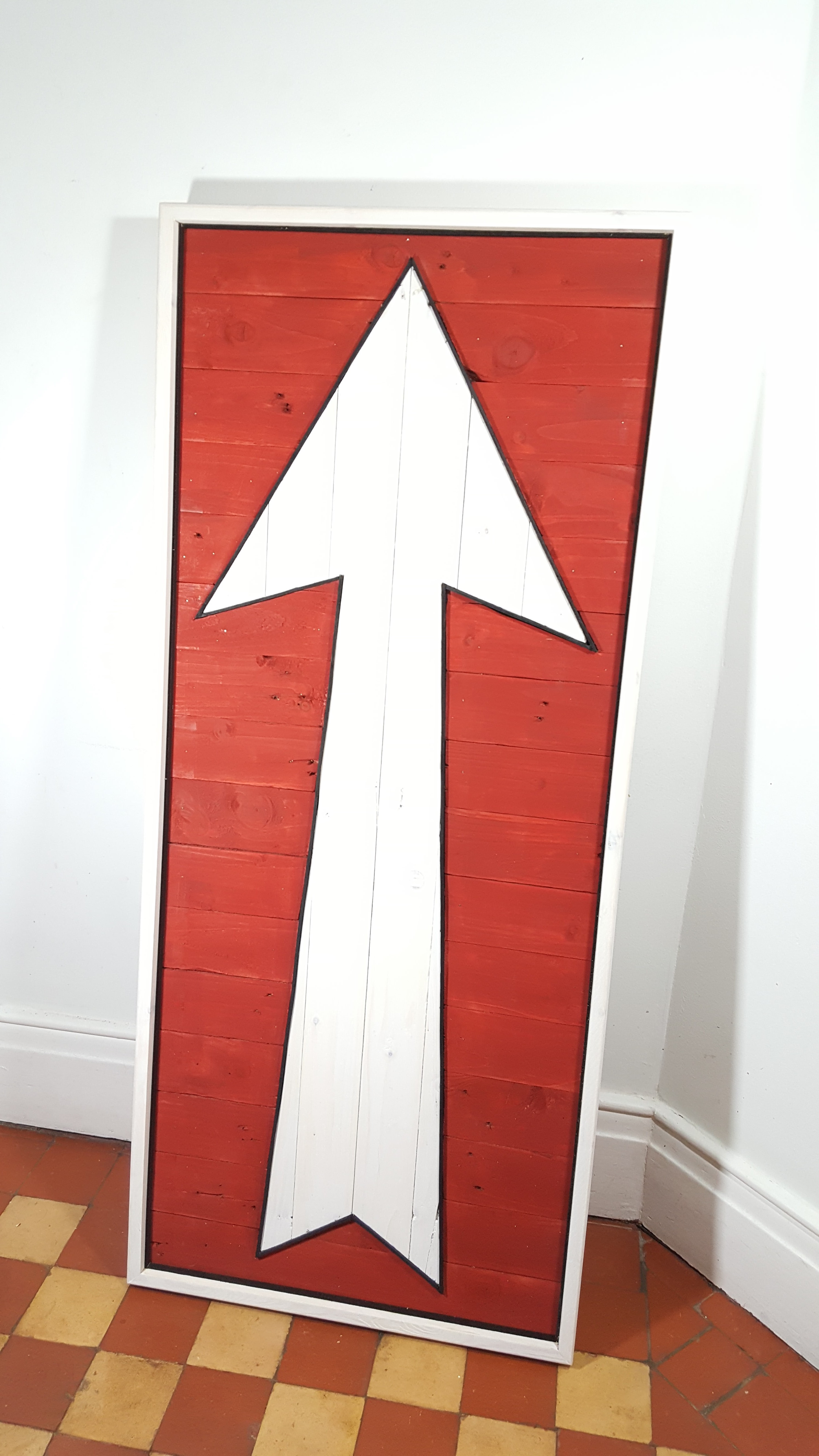 Large reclaimed wood arrow sign