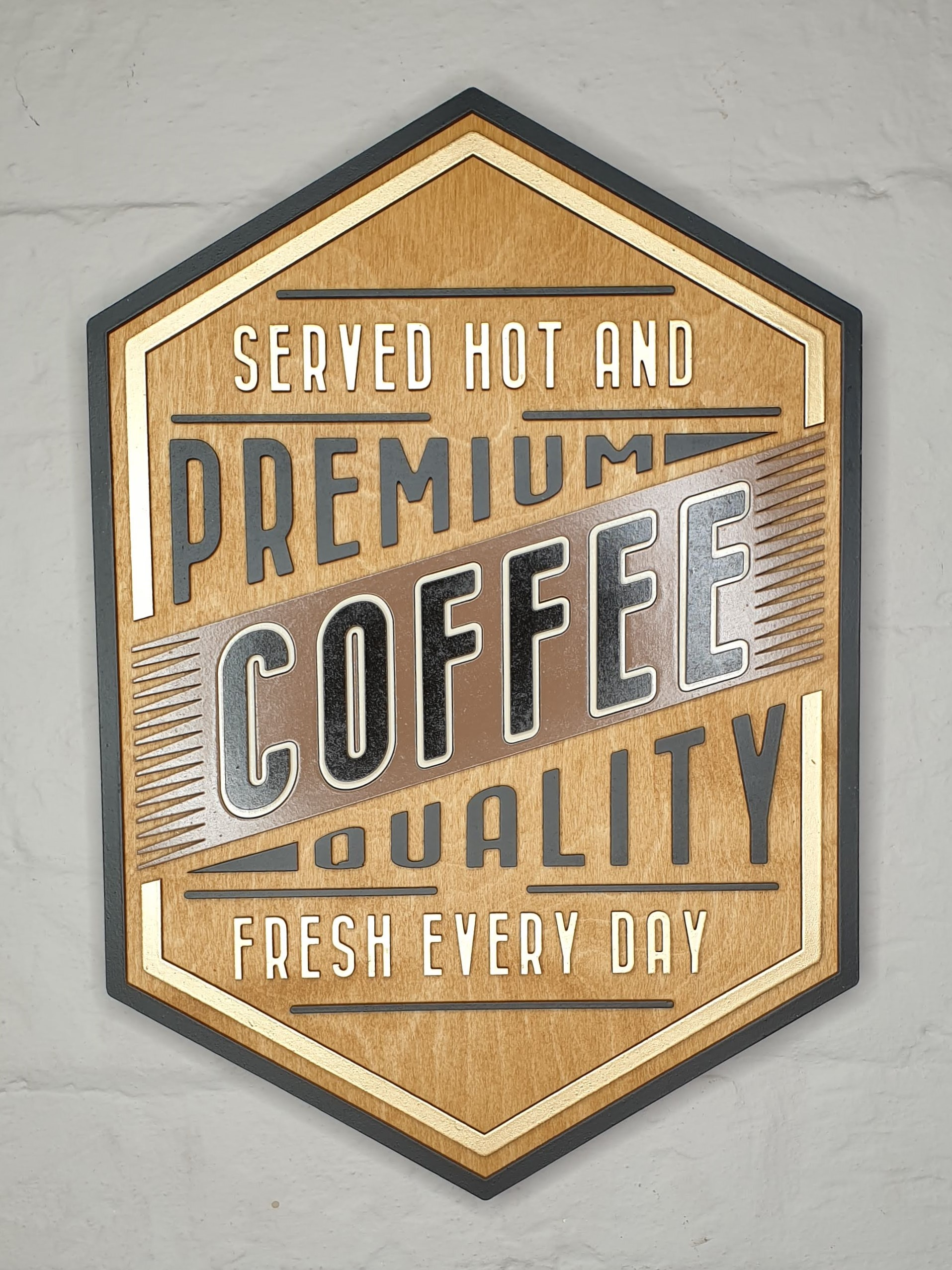 Served hot and fresh coffee sign