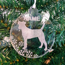 Etched clear acrylic personalised dog bauble