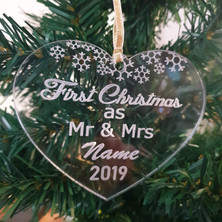 Etched clear acrylic personalised bauble