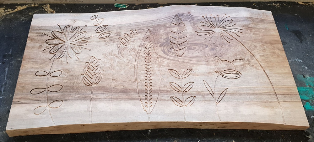 Carved cnc nordic flowers walnut table top