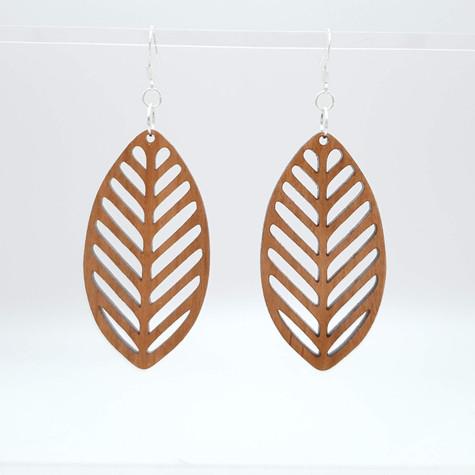 Cherry wood leaf earrings