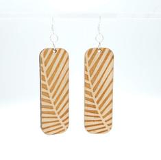 Wooden palm frond earrings