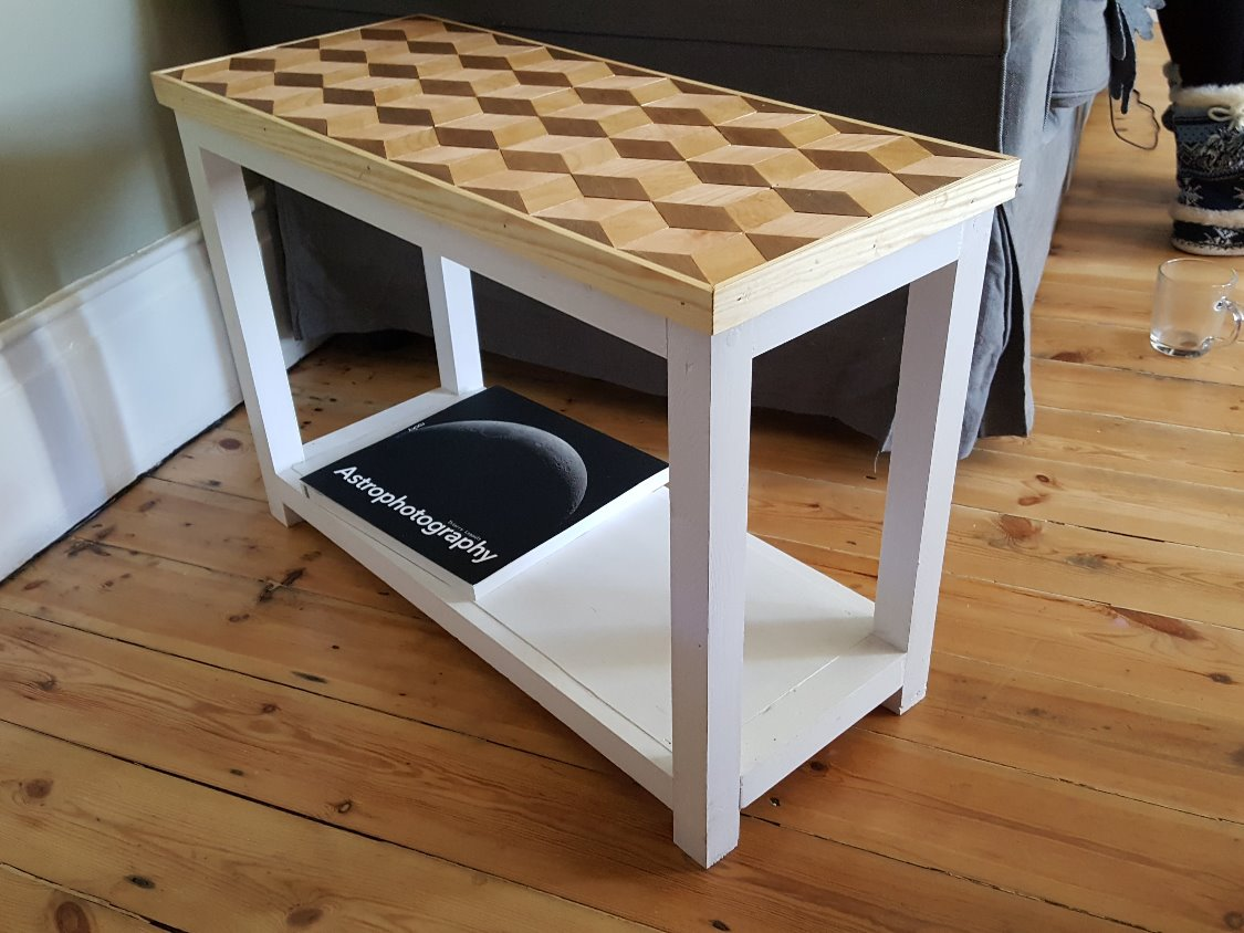 Geometric handmade wooden table