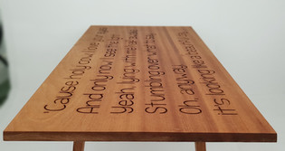 Song Lyric Carved Sapele Table