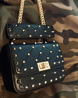 Vegas Black Stud Purse