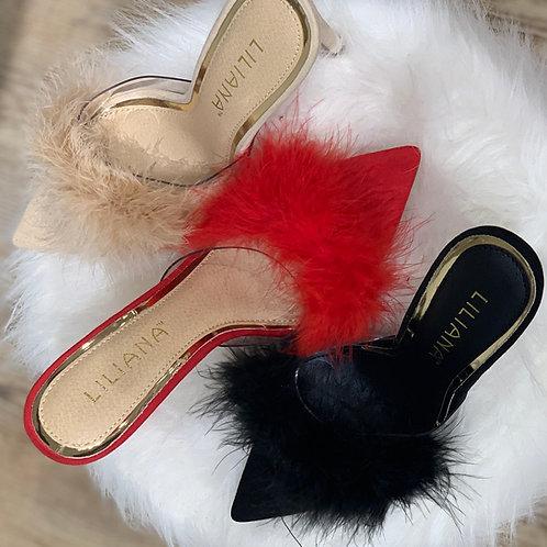 FurReal Mule Heel Slippers